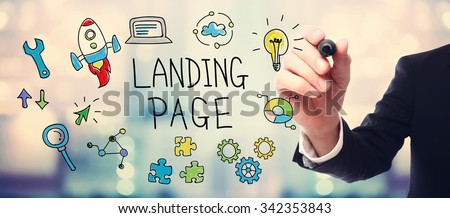 Businessman drawing Landing Page concept on blurred abstract background  - stock photo