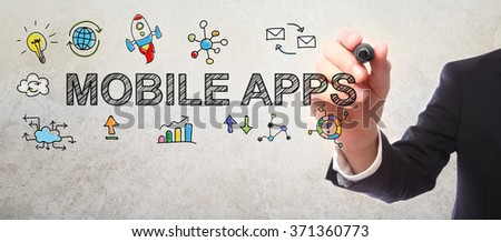 Businessman drawing Mobile Apps concept with a marker - stock photo