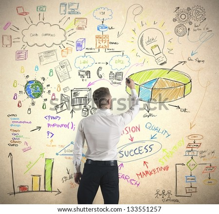 Businessman drawing modern business concept - stock photo