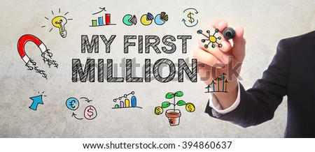 Businessman drawing My First Million concept with a marker - stock photo