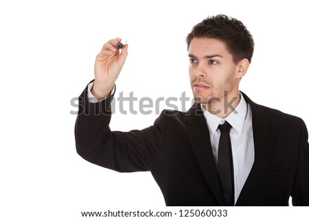 Businessman drawing on the screen. Isolated on white - stock photo