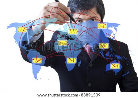 Businessman drawing  social network : Data source: NASA - stock photo