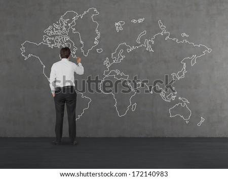 Businessman drawing the map 2 - stock photo