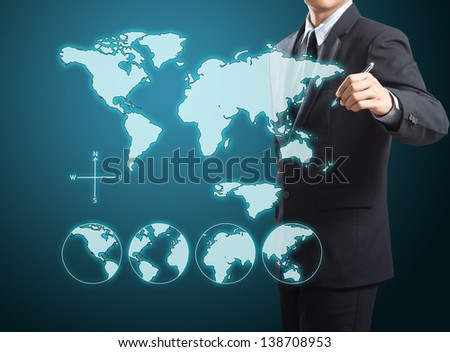 businessman drawing the world map - stock photo