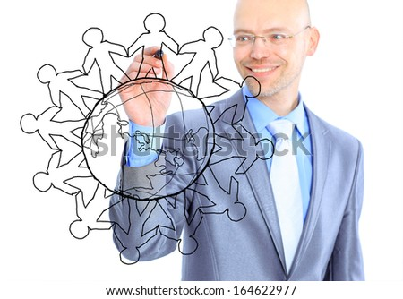 businessman drawing the world map in a whiteboard  - stock photo