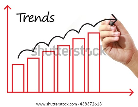 Businessman drawing Trends graph on virtual screen. Business, banking, finance and investment concept. - stock photo