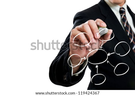 Businessman drawing white cycle - stock photo