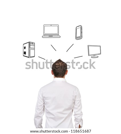 businessman dreaming about electronic gadgets - stock photo