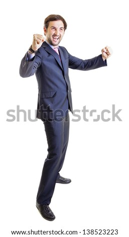 Businessman enjoying success isolated on white - stock photo