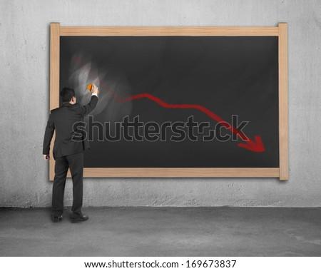 Businessman erasing decreasing red arrow on dirty wooden chalk board in concrete background - stock photo