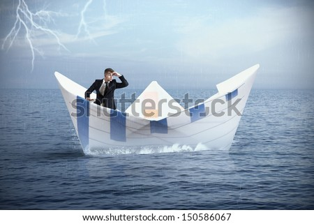 Businessman escapes from the crisis on a paper boat - stock photo