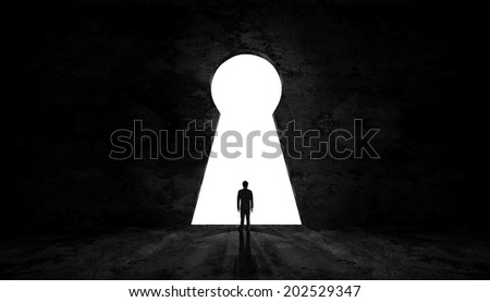 Businessman exit key room to success - stock photo