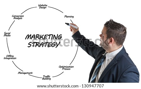 businessman explaining marketing strategy on whiteboard - stock photo