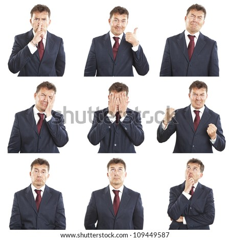businessman face expressions composite isolated on white background - stock photo