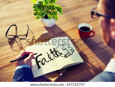 Businessman Faith Prayer Religion Office Analying Concept - stock photo