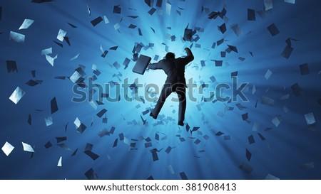 businessman falling into the hole - stock photo