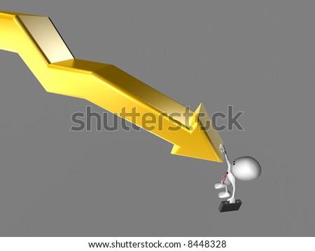 Businessman falling of a negative Chart - stock photo