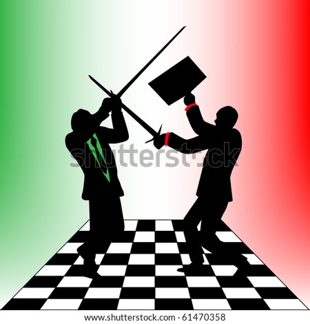 Businessman fighting on the chessboard - stock photo