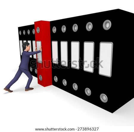 Businessman Filing Representing File Organized And Professional - stock photo