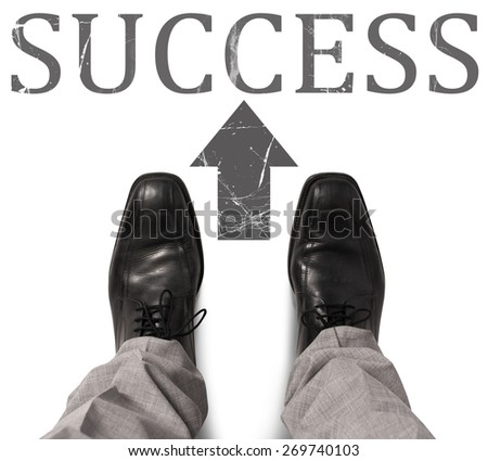 Businessman find and take the success road - stock photo