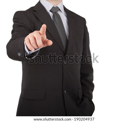 Businessman finger touching virtual screen or button on white background - stock photo