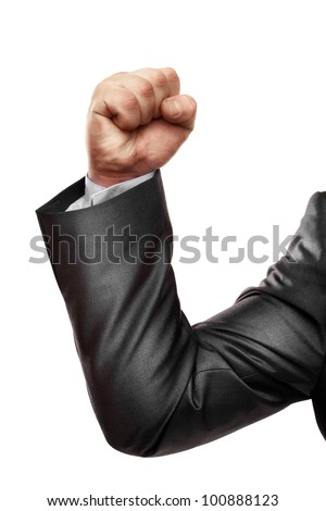 businessman fist isolated on white - stock photo