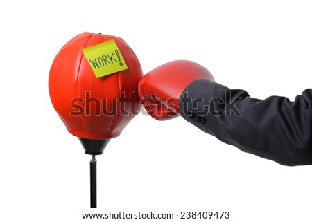 businessman fist punch red punching bag , business concept - stock photo