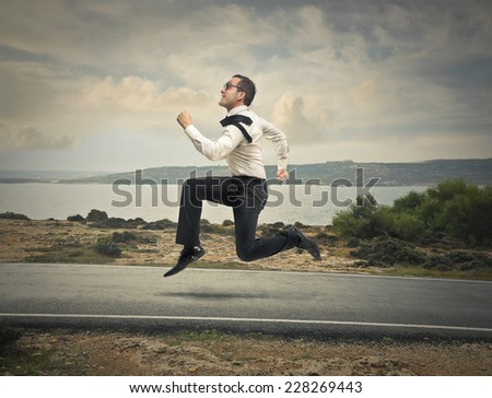 Businessman flying  - stock photo