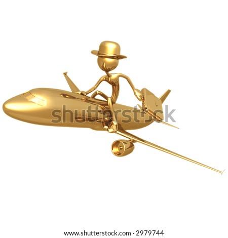 Businessman Flying On A Golden Jet Plane - stock photo