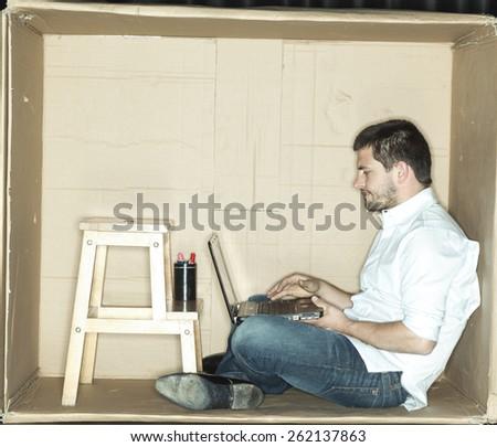 businessman focuses on his work - stock photo