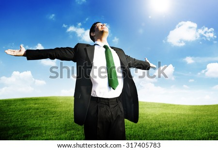 Businessman Freedom Relaxation Getaway Refreshment Concept - stock photo