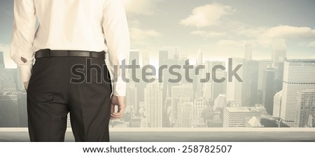 Businessman from the back in front of a city view on the window  - stock photo
