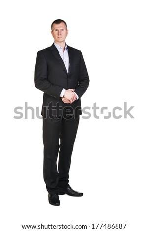 Businessman full length portrait isolated on white - stock photo