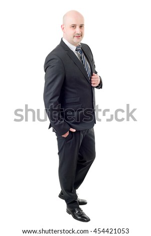 businessman full length, thinking, isolated on white - stock photo