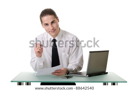 Businessman gesturing with emotions on a white background - stock photo