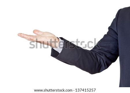 businessman gesturing with his hand isolated on a white background - stock photo