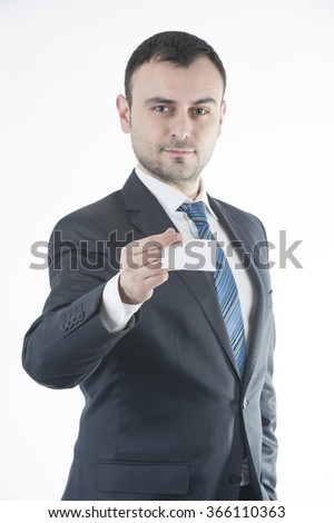 Businessman give business card - stock photo