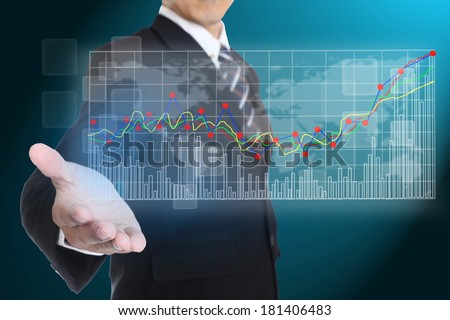 Businessman give information to anlaysic stock graph - stock photo