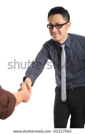 Businessman gives a handshake. - stock photo