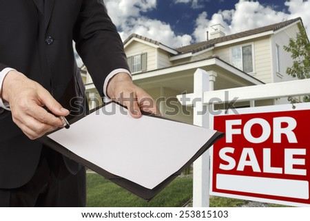Businessman giving a document to you - stock photo