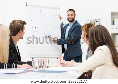 Businessman giving a presentation to his colleagues at work standing in front of a flipchart with notes and diagrams - stock photo