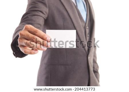 Businessman giving blank namecard - stock photo
