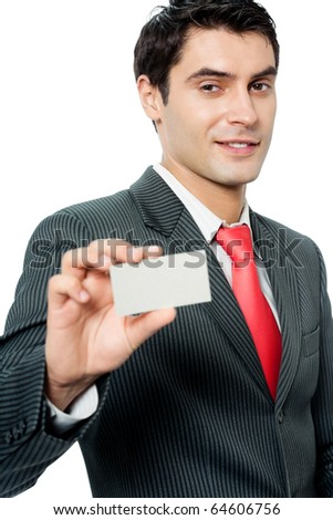 Businessman giving business card, isolated on white background - stock photo