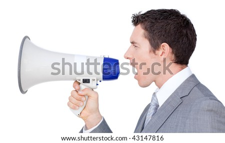 Businessman giving instructions with a megaphone isolated on a white background - stock photo