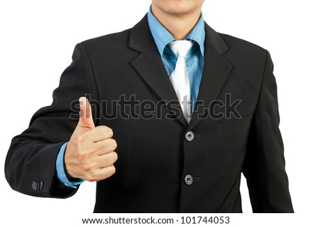 businessman giving you thumbs up on white background - stock photo
