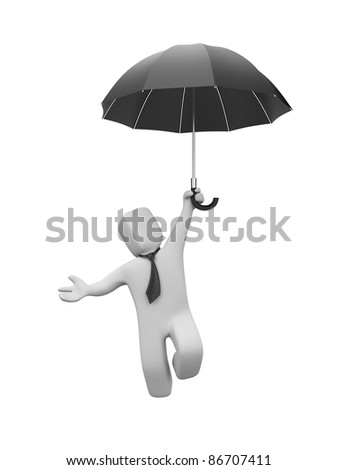 Businessman goes down(or up) on the umbrella - stock photo