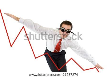 Businessman going down along a chart - isolated - stock photo