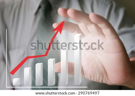 businessman hand and chart - stock photo