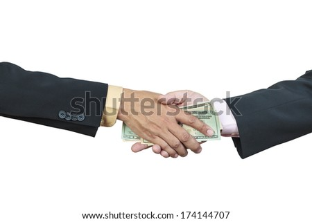 businessman hand and money to other for corruption concept on white background - stock photo