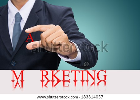 Businessman hand and word marketing concept.  - stock photo